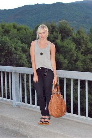 green American Apparel top - black Gap pants - black Steve Madden shoes - brown