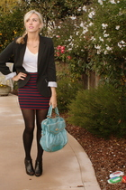 black Forever 21 jacket - white Forever 21 t-shirt - blue Forever 21 skirt - bla