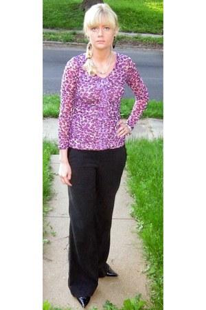 purple Halls blouse - black Steve Madden heels - black Macys pants
