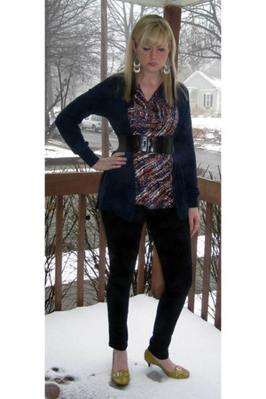 black Macys leggings - teal Forever 21 cardigan - dark brown Forever 21 belt - s