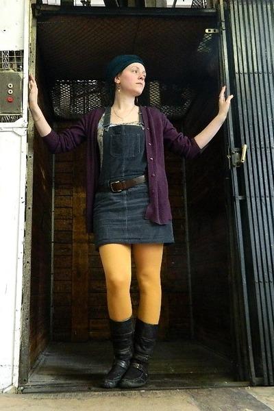 yellow Dorothy Perkins tights - dark brown zahra boots - dark gray dress