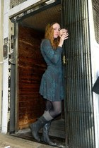 teal hand me down dress - gray hand me down boots - black M&S tights