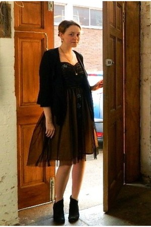 black Clarks heels - brown fancy thrifted dress - black smart chiffon cardigan