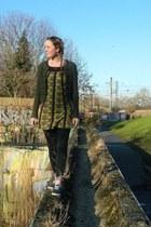 green dress - black next leggings - forest green H&M cardigan - blue pumps