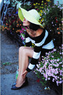 White-thrifted-dress-yellow-hat-black-flats