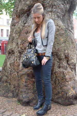 black Carvela boots - black Topshop jeans - silver H&M jacket