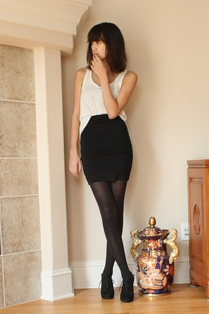 black American Apparel skirt - black Circa Joan &amp; David shoes - white tank H&amp;M