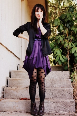 purple silk vintage dress - brown vintage boots - black silk Margiela jacket