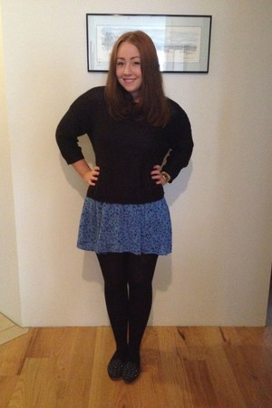 blue cute hm dress - black cosy oversized Primark sweater