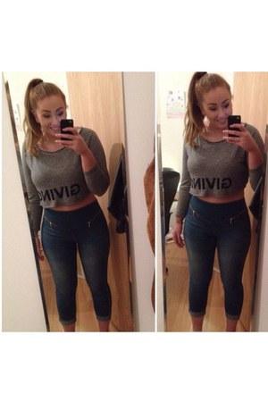 sky blue Vero Moda jeans - silver Zara top
