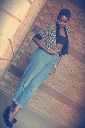 high waist jeans - aztec print blazer - cotton bra - suede wedges