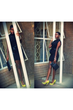 lace dress - leather purse - neon David Tlale heels