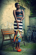 african prints bag - stripes skirt - suede heels - aztec print top