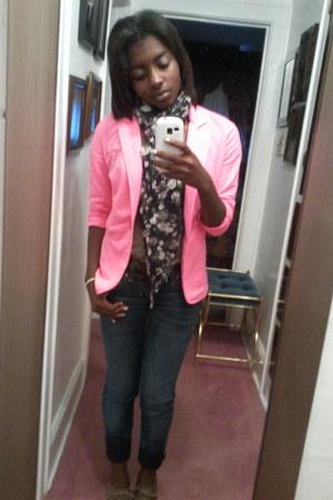 Charlotte Russe blazer - decree jeans - vneck JCPenney shirt - Walmart scarf