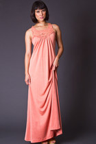 Vintage Crochet Neck Maxi Dress in Coral