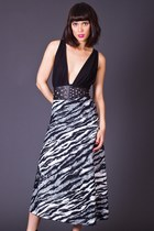 Vintage Black & White Tiger Print Wrap Skirt