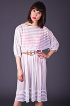 Vintage Sheer Striped Day Dress in White