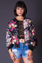 Vintage Floral Print Bomber Jacket