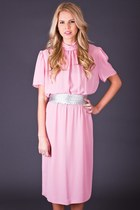 Vintage Sheer Midi Dress in Dusty Rose
