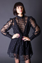 Vintage Goth Princess Dress in Black Lace