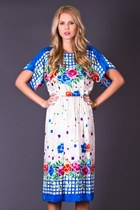 Vintage Silk Lattice Print Dress in White & Blue