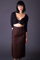 Vintage Pencil Skirt in Copper & Black
