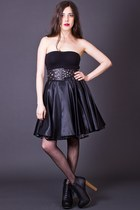 Vintage Black Satin Circle Skirt