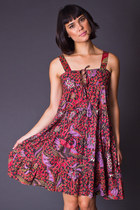Vintage Tie Front Batik Mini Dress
