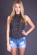 Vintage Beaded Silk Crop Top in Black