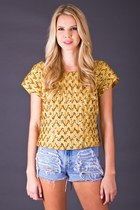 Vintage Sequin Crop Top in Gold