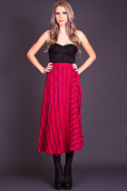Vintage Striped Cotton Wrap Skirt in Red