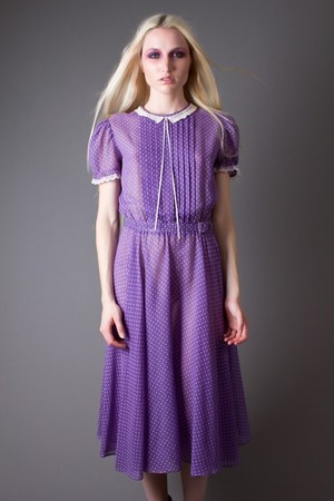 light purple sheer micro dot telltale hearts vintage dress