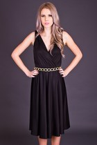 Vintage Shoulder Tie Dress in Black