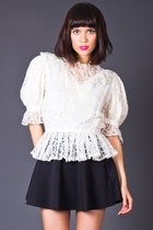 Vintage Sheer Lace Peplum Blouse in Ivory