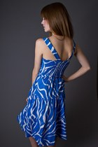 Blue Zebra Stripe Telltale Hearts Vintage Dresses