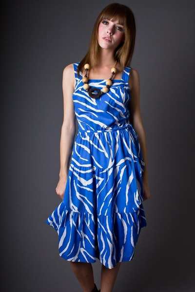 blue zebra stripe telltale hearts vintage dress