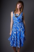 blue zebra stripe telltale hearts vintage dress