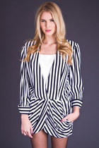 Vintage Draped Blazer in Black & White Stripe