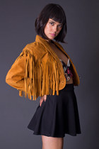Vintage Cropped Suede Jacket in Cognac