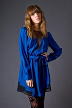 blue silk blue funktional dress