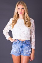 Vintage White Lace Crop Top