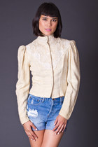 Vintage Cropped Silk Tweed Blazer in Cream