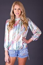 Vintage Sheer Pastel Stripe Blouse