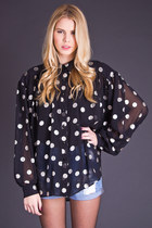 Vintage Sheer Polka Dot Blouse in Black & Silver