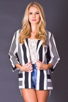 Vintage Striped Blazer in Black & White