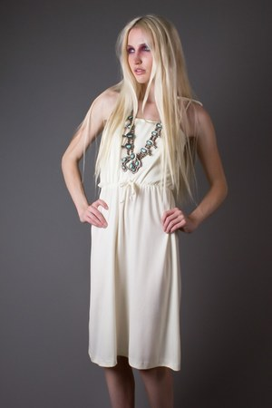 ivory ivory tie strap telltale hearts vintage dress