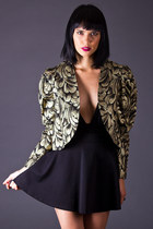 Vintage Cropped Evening Jacket in Black & Gold