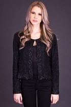 Vintage Cropped Silk Jacket in Midnight