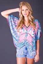 Vintage Pastel Sequin Butterfly Top