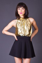 Vintage Glittering Gold Sleeveless Blouse